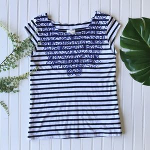 Anthropologie striped embroidered blue white black